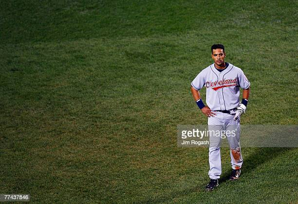 Franklin Gutierrez of the Cleveland Indians reacts after being tagged out as part of an inning ending double play in the seventh inning against the...