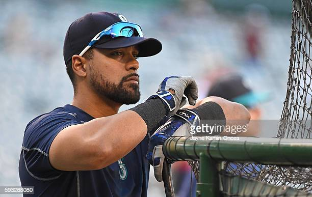 Franklin Gutierrez of the Seattle Mariners leans on the cage during batting practice for the game against the Los Angeles Angels at Angel Stadium of...