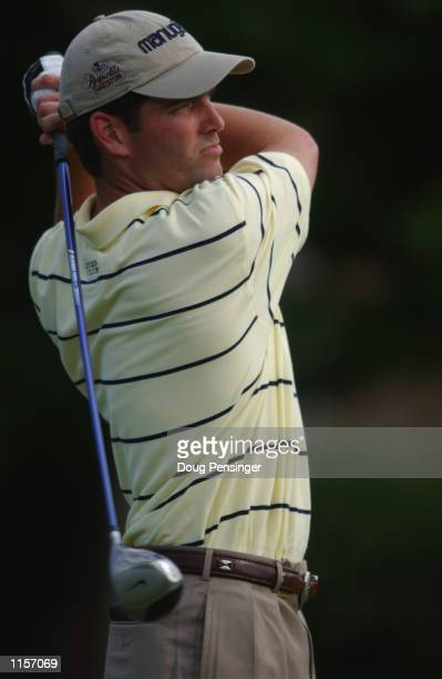Franklin Langham of the USA hits a shot during the third round of the Kemper Insurance Open at TPC Avenel in Potomac, Maryland on June 1, 2002.