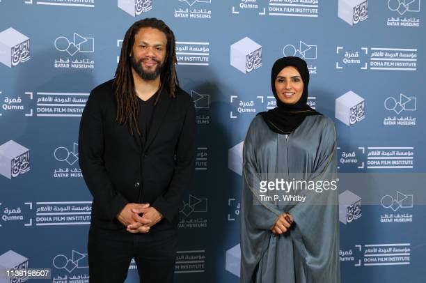 Franklin Leonard and Doha Film Institute CEO Fatma Al Remaihi attend The Future of Storytelling Qumra Talk photocall on day two of Qumra the fifth...