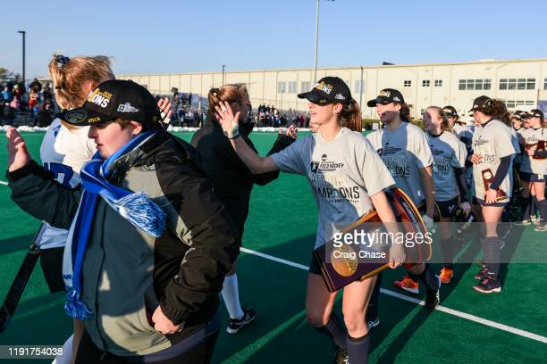 Franklin Marshall and Middlebury players shake hands following the Division III Women's Field Hockey Championship held at Spooky Nook Sports on...