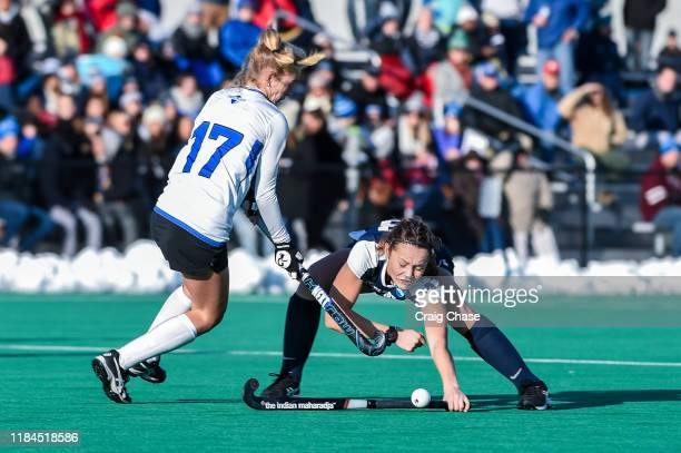 Franklin Marshall Diplomats Darby Klopp against the Middlebury Panthers Meg Fearey at the Division III Women's Field Hockey Championship held at...