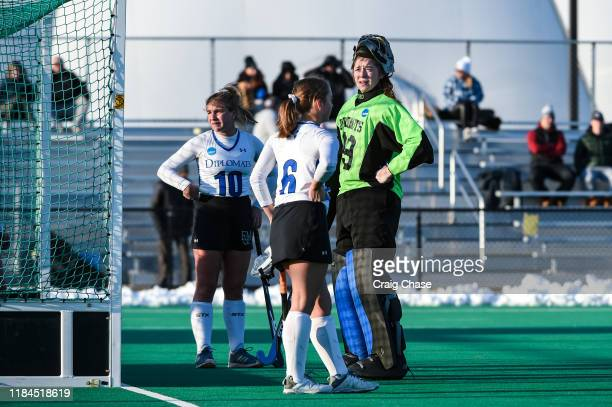 Franklin Marshall Diplomats Goalie Christina Seery plan against Middlebury Panthers during the Division III Women's Field Hockey Championship held at...