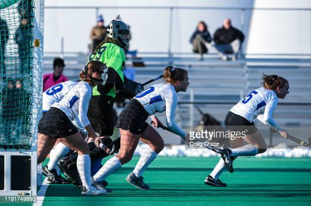 Franklin Marshall players prepare for a corner the Division III Women's Field Hockey Championship held at Spooky Nook Sports on November 24 2019 in...