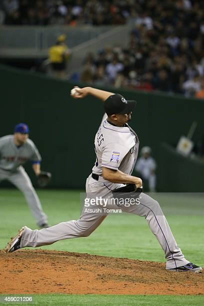 Franklin Morales of the Colorado Rockies pitches in the eighth inning during the game three of Samurai Japan and MLB All Stars at Tokyo Dome on...
