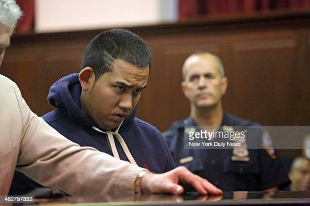 Franklin Reyes appears at his arraignment in Manhattan Criminal Court Reyes was arrested for larceny for robbing an apartment in one of the buildings...