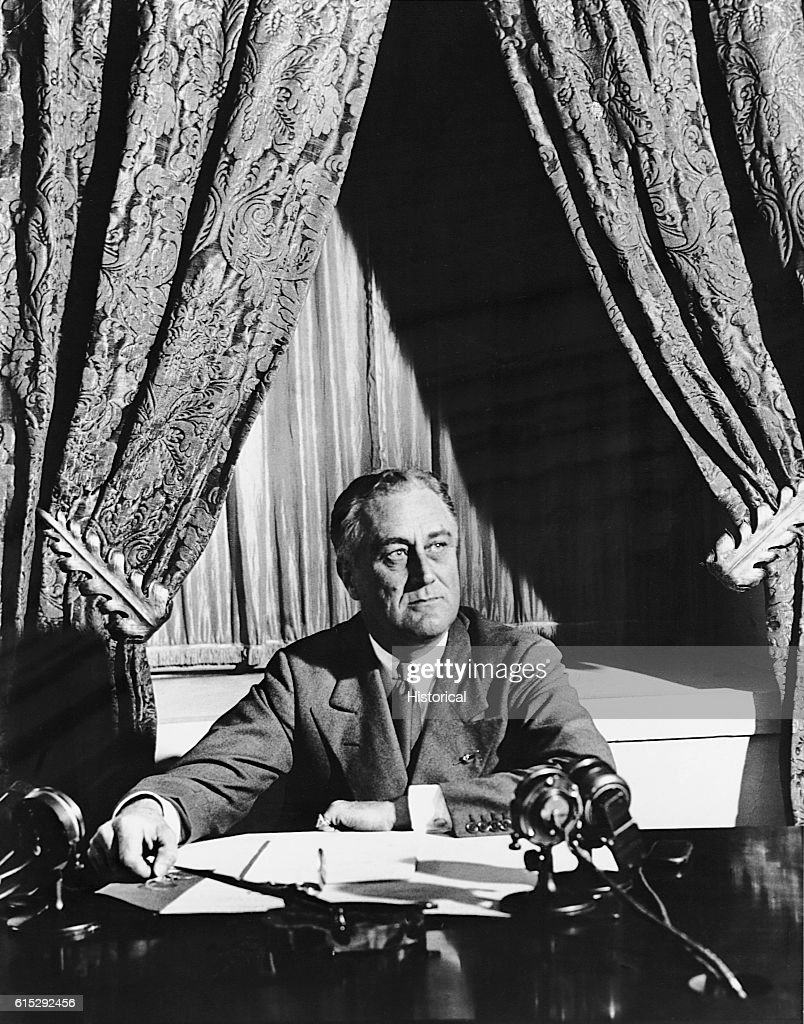 Franklin Roosevelt About to Deliver His First Fireside Chat : News Photo