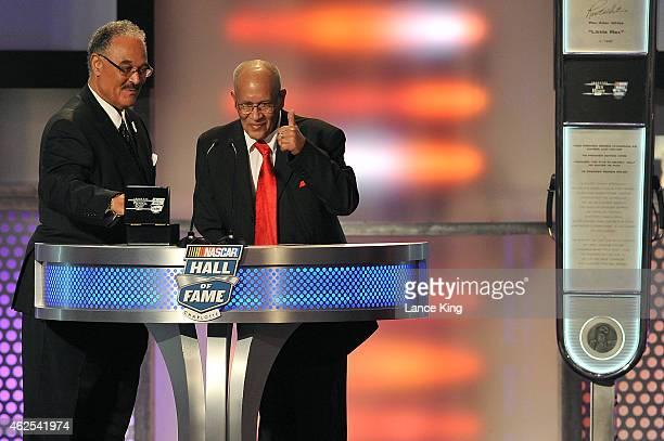 Franklin Scott and Wendell Scott Jr., sons of NASCAR Hall of Famer Wendell Scott, speak during the 2015 NASCAR Hall of Fame Induction Ceremony at...