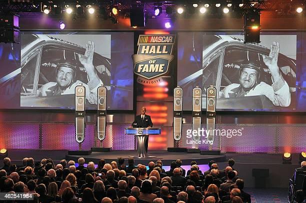 Franklin Scott, son of NASCAR Hall of Famer Wendell Scott, speaks during the 2015 NASCAR Hall of Fame Induction Ceremony at NASCAR Hall of Fame on...