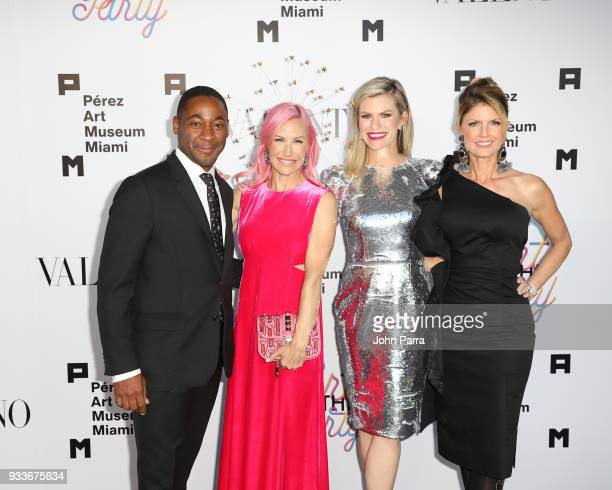 Franklin Sirmans Alexa Wolman and Suzy Buckley attend PAMM Art Of The Party Presented By Valentino at Perez Art Museum Miami on March 17 2018 in...