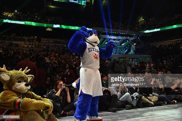Franklin the Philadelphia 76ers Mascot is impressed with the action during the Sprite Slam Dunk Contest on State Farm AllStar Saturday Night as part...