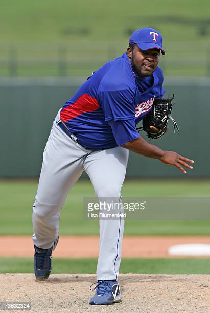 Franklyn German of the Texas Rangers pitches against the Kansas City Royals at Surprise Stadium on March 4 2007 in Surprise Arizona
