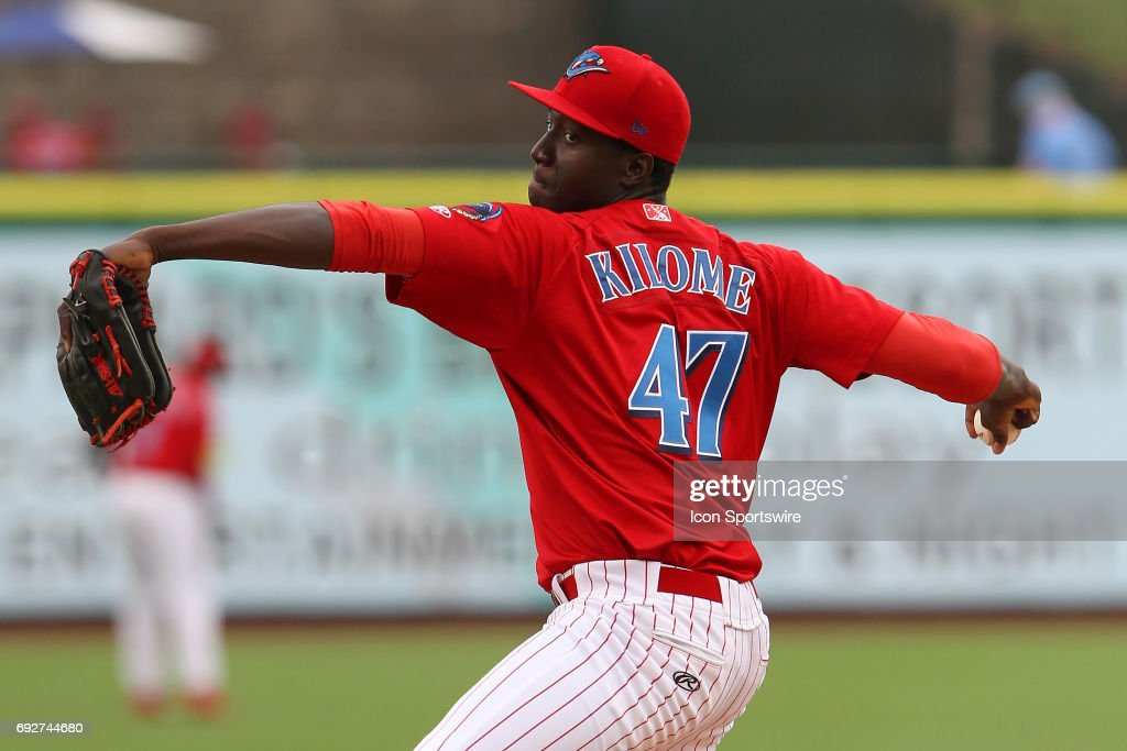 Franklyn Kilome of the Threshers delivers a pitch to the plate during the Florida State League game between the Charlotte Stone Crabs and the Clearwater Threshers on June 05, 2017, at Spectrum Field in Clearwater, FL.