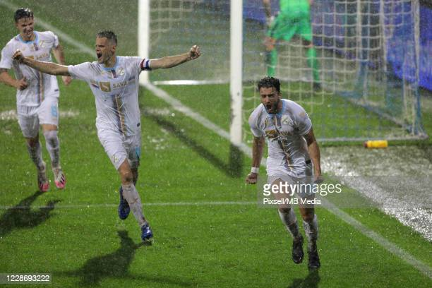 Franko Andrijasevic and Joao Escoval of HNK Rijeka celebrate after scoring a goal during the UEFA Europa League third qualifying round match between...