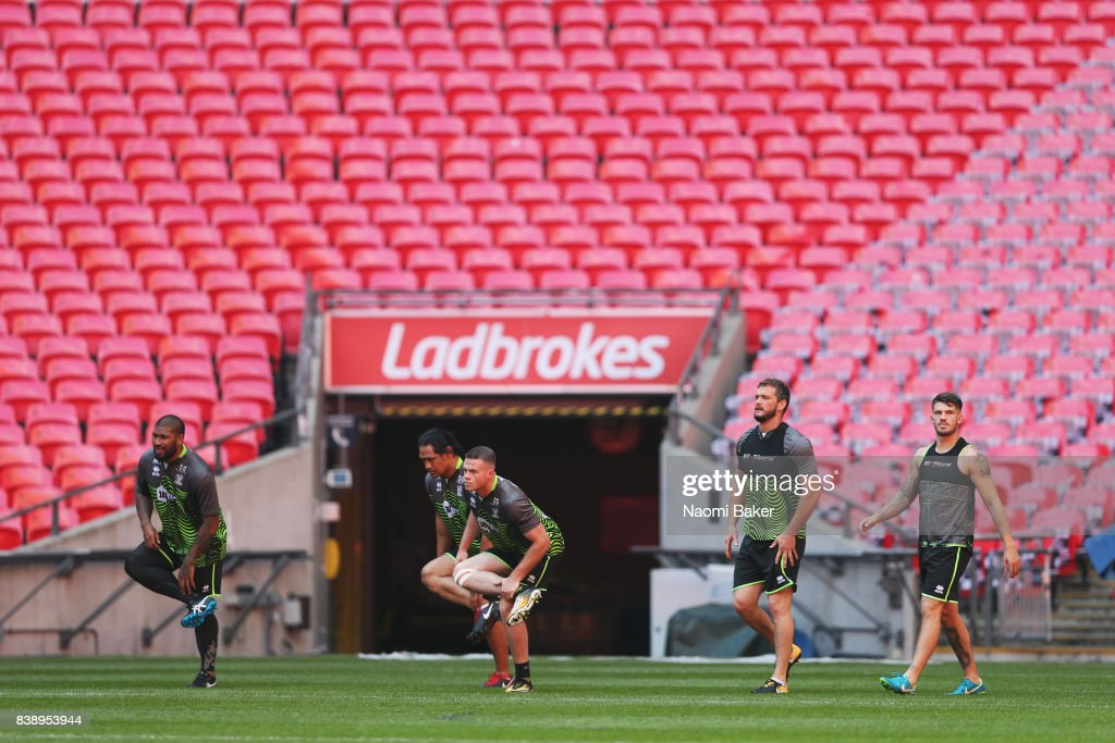 Frank-Paul Nuuausala, Taulima Tautai, Joe Burgess, Sean O'Loughlin, Oliver Gildart training during the Wigan Warriors Captain's Run at Wembley Stadium on August 25, 2017 in London, England.
