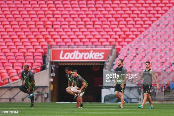 FrankPaul Nuuausala Taulima Tautai Joe Burgess Sean O'Loughlin Oliver Gildart training during the Wigan Warriors Captain's Run at Wembley Stadium on...