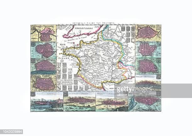 Frankreich 1747 mit zahlreichen Stadtplänen von Daniel de la Feuille Amsterdam 1747
