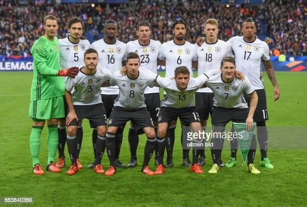 FUSSBALL Frankreich Deutschland Teamfoto Deutschland hintere Reihe von links Torwart Manuel Neuer Mats Hummels Antonio Ruediger Mario Gomez Sami...