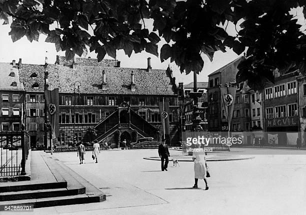 Frankreich Elsass Muelhausen Rathaus 1940