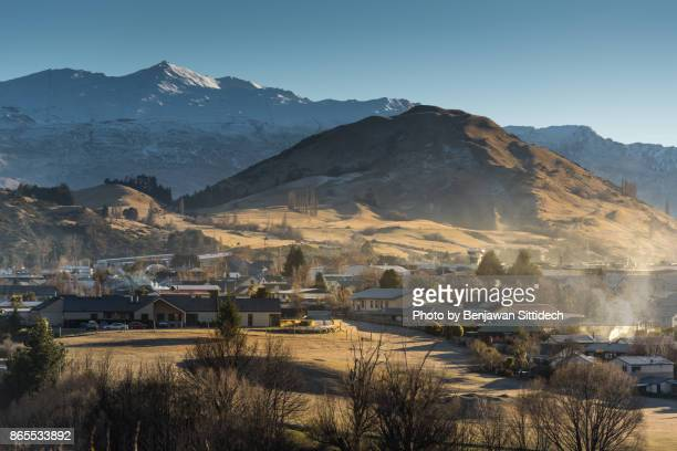 Frankton village and Coronet peak in Queenstown, South island, New Zealand
