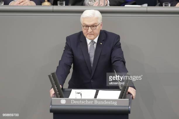 FrankWalter Steinmeier der zwölfte Bundespräsident der Bundesrepublik Deutschland Deutschland Berlin Deutscher Bundestag Plenarsaal Vereidigung des...