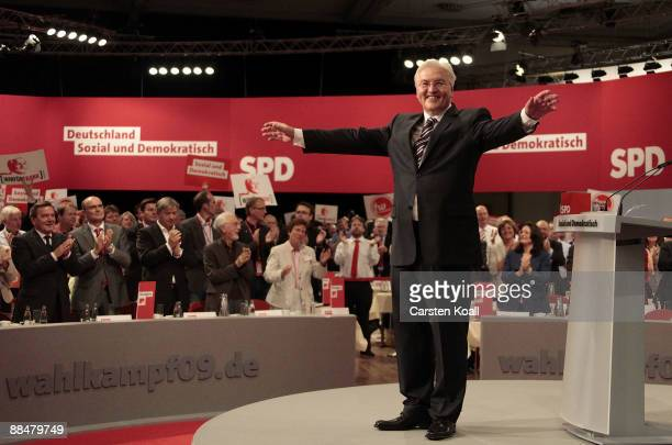 FrankWalter Steinmeier German Foreign Minister and top candidate of the German Social Democratic Party for the upcoming general elections waves and...