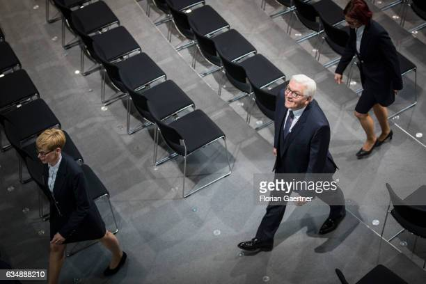 FrankWalter Steinmeier leaves the plenary after his election as the new German President by the Federal Assembly at the Bundestag on February 12 2017...