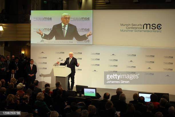 FrankWalter Steinmeier president of the federalrepublic of Germany delivers the opening speech at the 2020 Munich Security Conference on February 14...