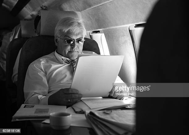 FrankWalter STEINMEIER SPD Federal Minister of Foreign Affairs on board of an aircraft of flightability on the flight from Berlin Tegel to Cairo on...