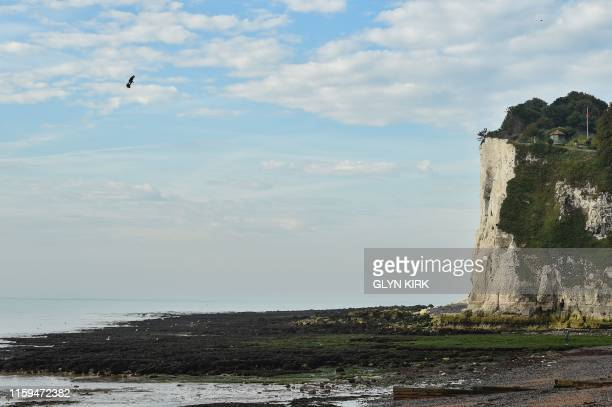 """Franky Zapata stands on his jet-powered """"flyboard"""" prior to land on St. Margaret's Bay in Dover, on August 4 during his attemp to fly across the..."""