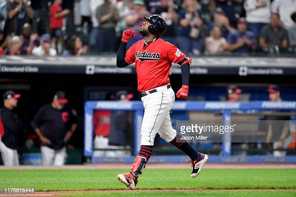 Franmil Reyes of the Cleveland Indians celebrates after hitting a two run homer during the fourth inning against the Detroit Tigers at Progressive...