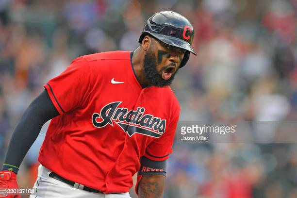 Franmil Reyes of the Cleveland Indians celebrates as he rounds the bases after hitting a three run homer during the third inning against the Tampa...