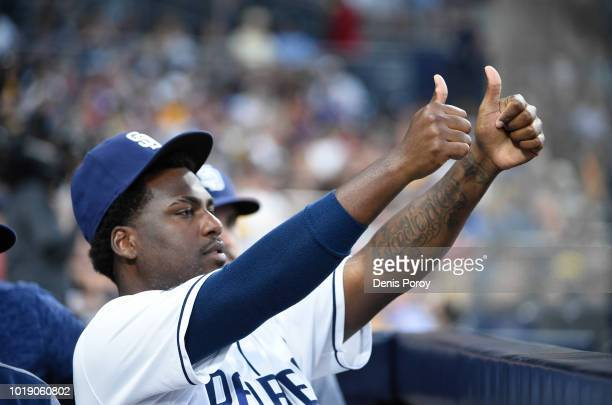 Franmil Reyes of the San Diego Padres celebrates after a run scores during the fifth inning of a baseball game against the Arizona Diamondbacks at...