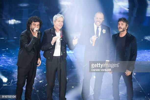 Franncesco Renga Claudio Baglioni Max Pezzali and Nek attend the closing night of the 68 Sanremo Music Festival on February 10 2018 in Sanremo Italy