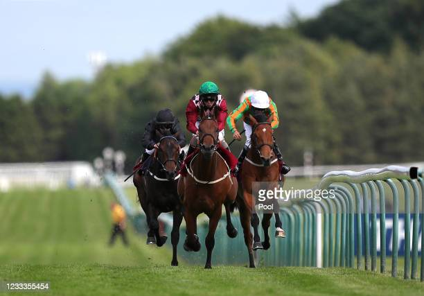 Franny Norton riding Soapy Stevens on their way to winning the Join Racing TV Now Handicap at Haydock Park Racecourse on June 9, 2021...
