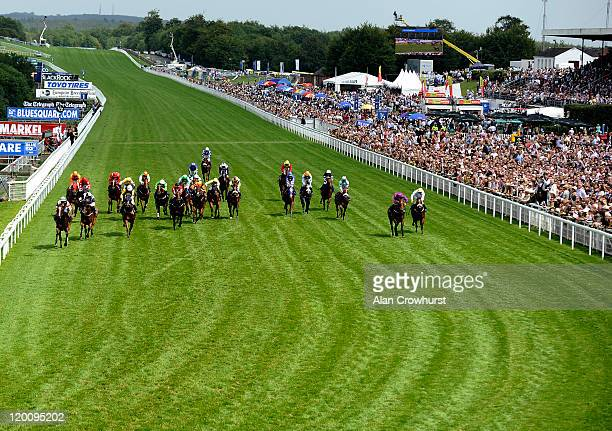 Franny Norton riding Son Of The Cat win the bluesquarecom Stewards' Sprint Stakes at Goodwood racecourse on July 30 2011 in Chichester England