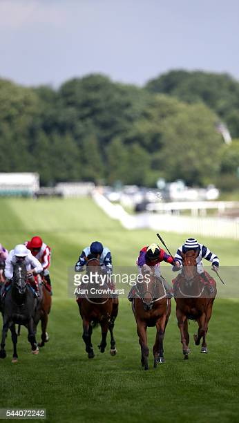 Franny Norton riding The Last Lion win The RacingUK/Daypass Dragon Stakes at Sandown Park on July 01 2016 in Esher England