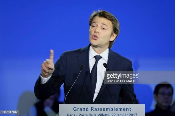 François Baroin lors d'un meeting le 29 janvier 2017, Porte de la Villette, Paris, France.