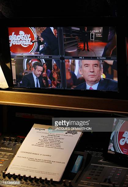 François Bayrou president of the MoDem centrist party and candidate for the 2012 French presidential election arrives to take part in the TV show 'Le...