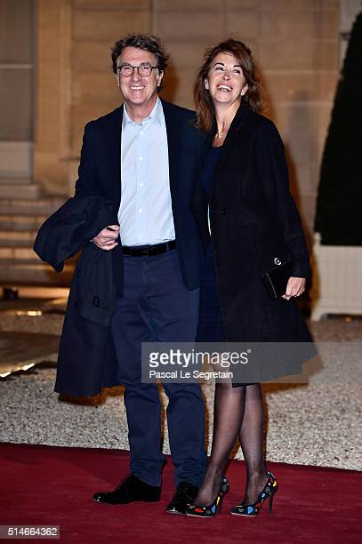 François Cluzet and his wife Narjiss arrive at The State Dinner in Honor Of King WillemAlexander of the Netherlands and Queen Maxima on March 10 2016...