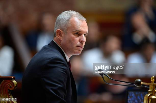 Franois de Rugy President of the National Assembly reacts as Ministers answer deputies during the weekly questions to the government at Assemblee...