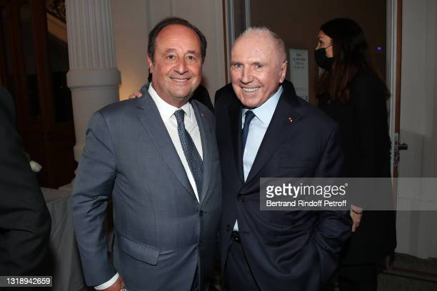 """François Hollande and François Pinault attend the """"Bourse de Commerce - Pinault Collection, Modern Art Foundation"""" Opening Night on May 19, 2021 in..."""