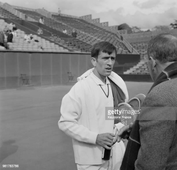 François Jauffret lors de la Coupe Davis France Norvège au stade RolandGarros à Paris en France en mai 1967
