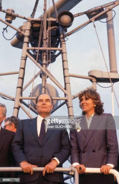 François Mitterrand et Edith Cresson le 12 avril 1985 à Shanghai Chine