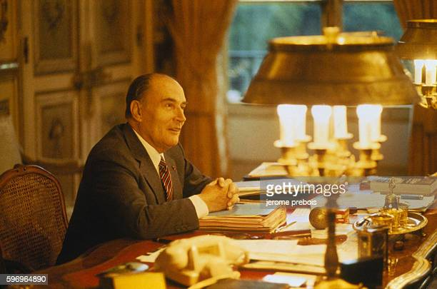 François Mitterrand French President between 1981 and 1995 in his office of the Elysee Palace