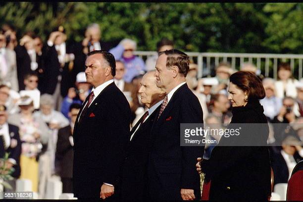 François Mitterrand, le premier ministre canadien Jean Chrétien et le gouverneur Ramon John Hnatyshyn.