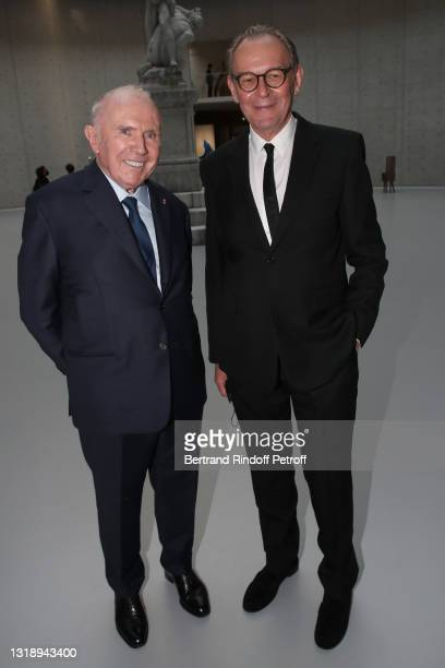 """François Pinault and Managing Director of """"Pinault Collection"""" Jean-Jacques Aillagon attend the """"Bourse de Commerce - Pinault Collection, Modern Art..."""