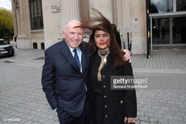 """François Pinault and Salma Hayek attend the """"Bourse de Commerce - Pinault Collection, Modern Art Foundation"""" Opening Night on May 19, 2021 in Paris,..."""