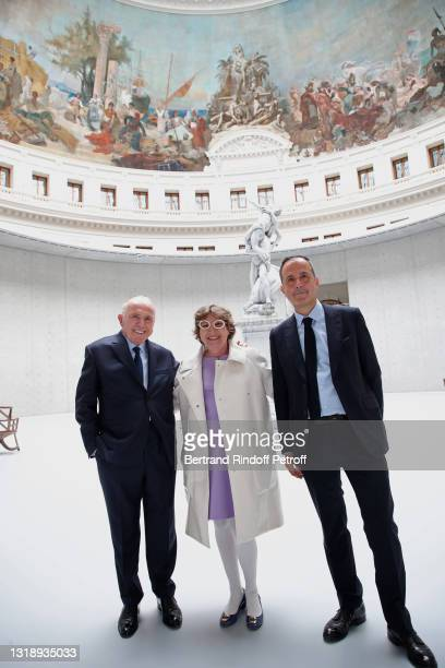 """François Pinault, Curator of the """"Pinault Collection"""" Caroline Bourgeois and Deputy Managing Director of the """"Bourse de Commerce"""" Martin Bethenod..."""