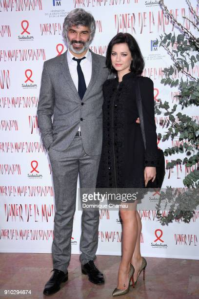 François Vincentelli and Alice Dufour attend the 16th Sidaction as part of Paris Fashion Week on January 25 2018 in Paris France